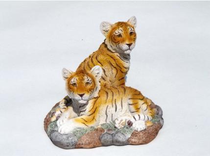 2 Tiger Babys Felsplatte Katze Tigerfigur Skulptur Deko Tier Figur Statue Löwe