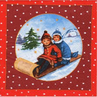 20 Servietten Weihnachten Tischdeko Kinder auf Schlitten Napkins Serviette Deko