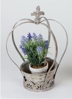 Pflanzkrone Metall Krone Deko Garten Blumen Pflanz Topf Ständer Übertopf Kübel