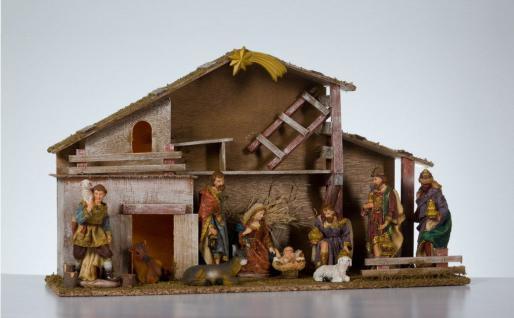 Krippe Holz 10 Figuren Krippenset Weihnachts Deko Holzkrippe Stall Krippenstall