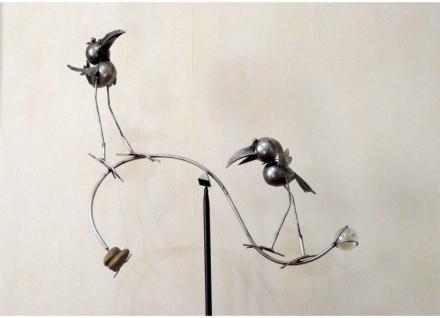 Gartenstecker Vogel Metall Gartendeko Beet Stecker Rosenkugel Deko Figur Stab