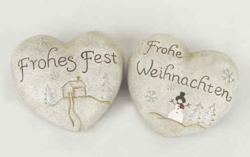 2 Deko Herzen Keramik Herz Weihnachtsdeko mit Schrift