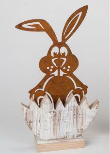 Hase Dekohase Osterhase Skulptur Metall Garten Deko Oster Figur Holz Ständer
