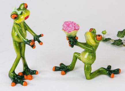 Frosch 2 Stück Paar Kröte Unke Lurch Gecko Deko Tier Figur Skulptur Laubfrosch