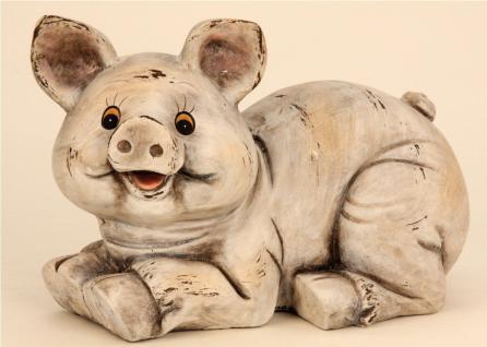 Schwein Keiler Eber Skulptur Garten Deko Tier Figur Statue Wildschwein Ferkel
