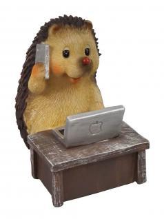 Igel mit Computer Tisch Deko Garten Tier Figur Skulptur Igelfigur Dekofigur