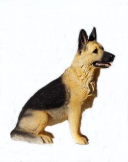Schäferhund deutscher Hund Skulptur Deko Garten Tier Figur Statue Wildhund Wolf