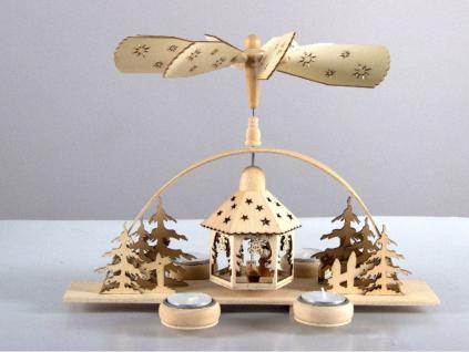 Pyramide Weihnachtspyramide aus Holz für 4 Teelichter Weihnachts Deko Figuren