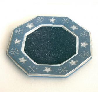 Dekoteller Weihnachtsteller Adventsteller Keramik Teller Deko Kerzen Schale 25cm