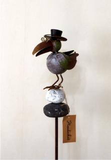 Gartenstecker Vogel Rabe Metall Gartendeko Beet Stecker Rosenkugel Deko Figur