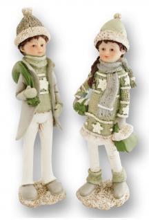 Winterkinder Set 2 tlg. Winterkind Weihnachts Deko Kinder Figur Artikel Tasche