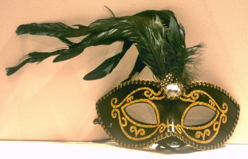 Maske Augenmaske Venezia mit Federn Halbmaske Deko Masken Karneval
