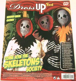 Skelett Set Maske m Kapuze Handschuhe Kostüm Halloween Geist Karneval Monster