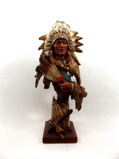 Indianer Büste auf Sockel Deko Häuptling Western Figur Cowboy Skulptur Statue
