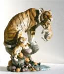 Tiger Katze Tigerfigur Baby Tierfigur Skulptur Deko Tier Figur Statue abstrakt