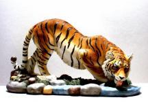 Tiger Katze Tigerfigur trinkend Skulptur Deko Tier Figur Statue abstrakt Löwe