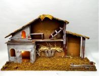 Krippe Holz Weihnachtskrippe Weihnachts Deko Holzkrippe Stall Krippenstall
