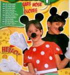 Maus Kinder Kostüm Set Ohren Nase Handschuhe Deko Mauskostüm Fasching Karneval