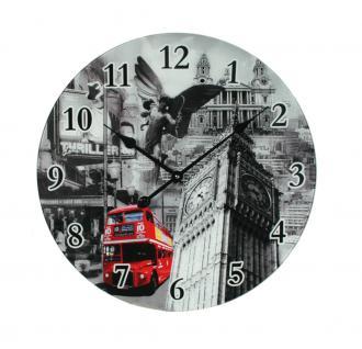 XXL Wanduhr aus Glas 57cm England London Big Ben Bus rot retro Glasuhr