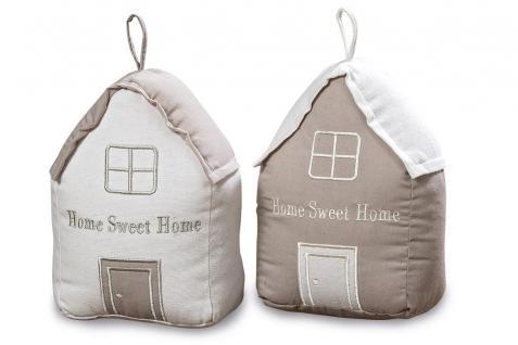 2er Set Türstopper Haus 20cm hoch Beige Braun Baumwolle Sweet Home