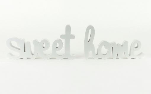 Schriftzug Holz weiß Wandobjekt Worte Buchstabenset Bild Sweet Home