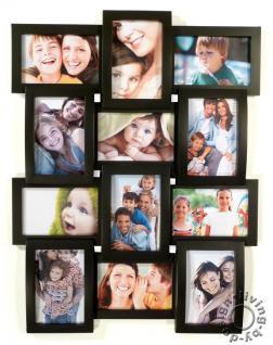 Fotocollage schwarz 12 Fotos 3D - Bilderrahmen schwarze Fotogalerie