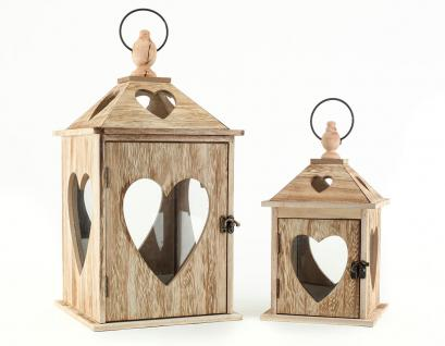 2tlg. Laternen Set Holz Herzen braun Glas Shabby Chic 24cm & 40cm 2er