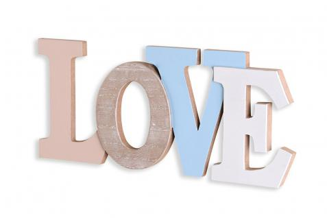 3D Schriftzug Love Holz 30x13cm Blau Weiß Natur Buchstaben zum Hängen