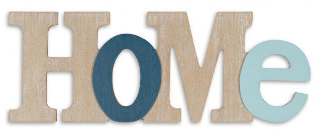 3D Schriftzug Home aus Holz 35x13cm Blau Natur Buchstaben zum Hängen