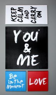 4 Wandbilder im Set Text Schriftzug Sprüche love 4 teiliges Bild
