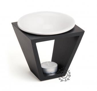 Duftlampe schwarz weiß Holz Keramik Öllampe Aromalampe Aromaspender