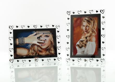2er Set Herz Bilderrahmen aus Glas für je 1 Foto in 10x15cm/ 15x10cm