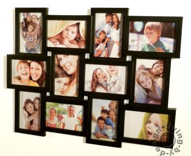 Bilderrahmen schwarz 12 Bilder 3D Optik schwarze Fotogalerie Collage