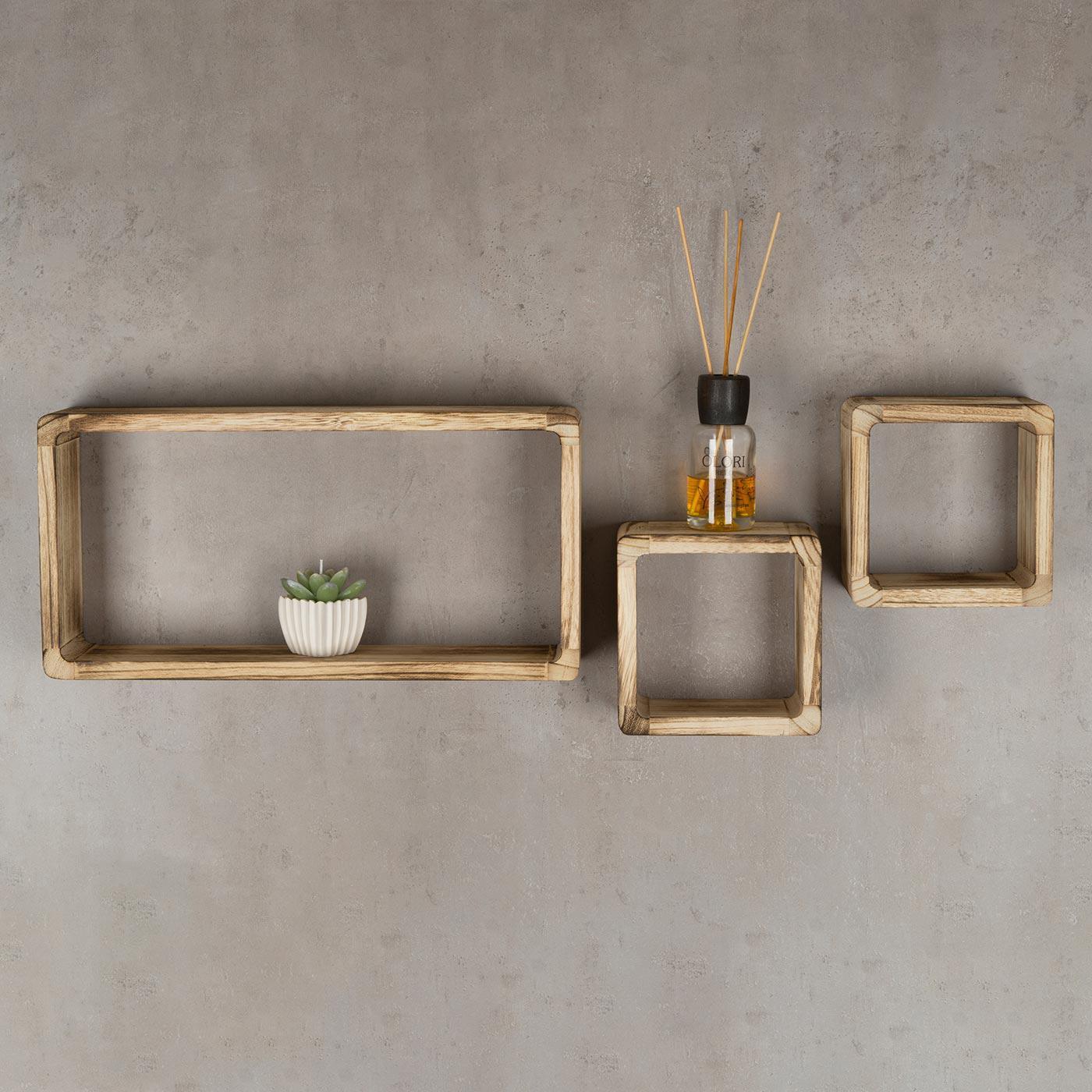 wandregal 3er set cube regal holz natur 16cm 21cm. Black Bedroom Furniture Sets. Home Design Ideas