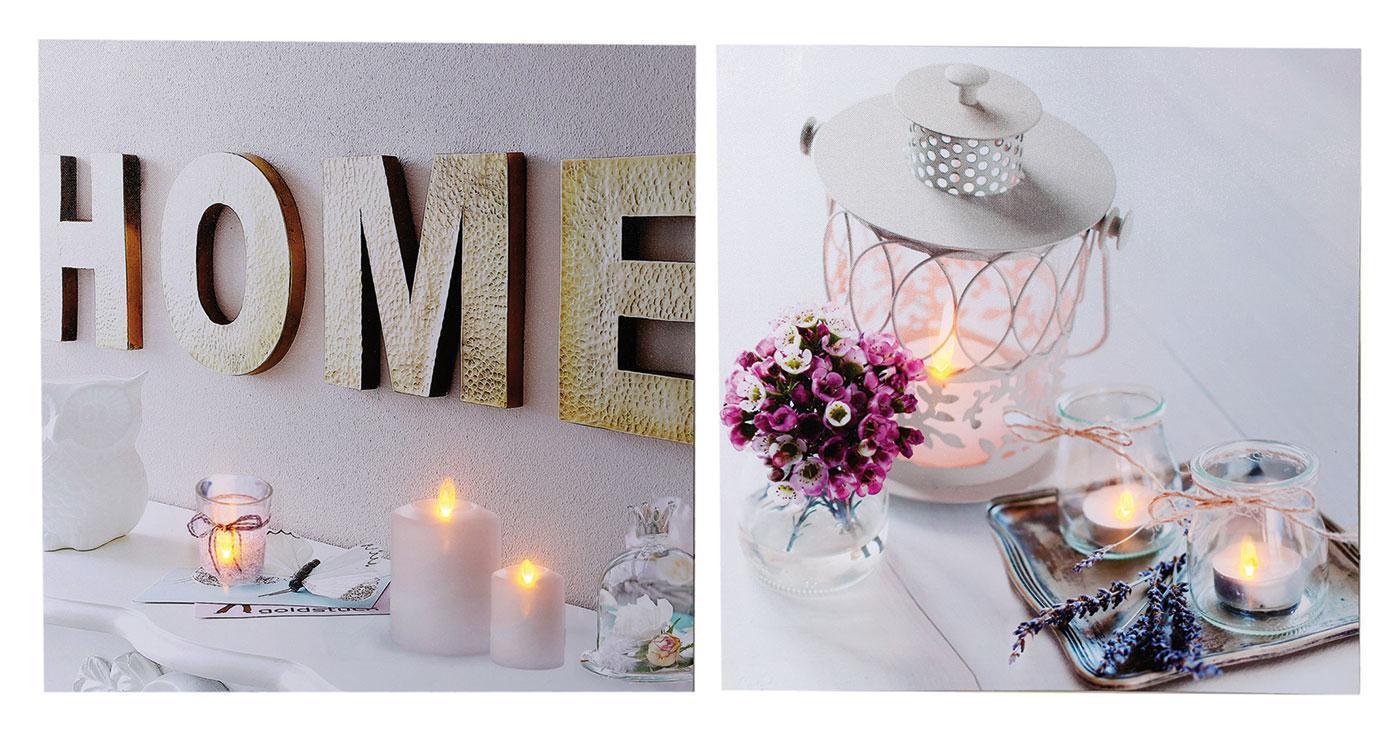 2 wandbilder im set led bild 40x40 home wellness kerzen spa feng shui kaufen bei living by design. Black Bedroom Furniture Sets. Home Design Ideas