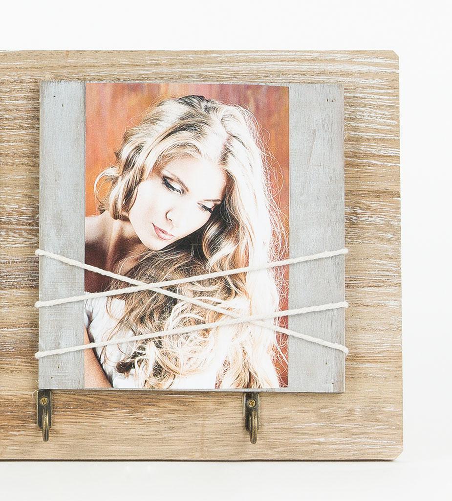 Wandgarderobe Holz braun weiß Shabby Bilderrahmen Fotogalerie mit ...