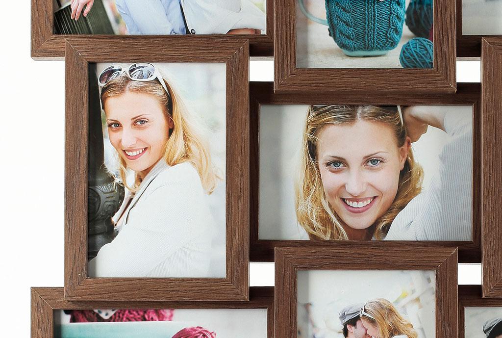 fotogalerie holz in nussbaum 9 fotos glas bilderrahmen collage,