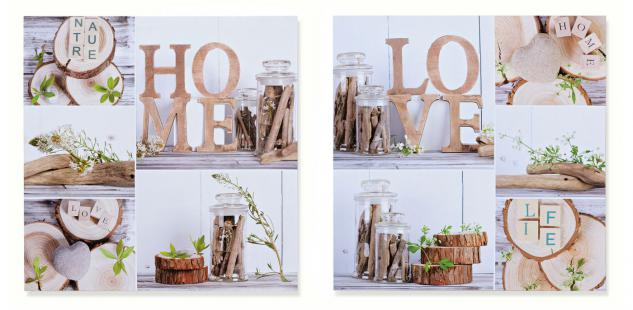 2 Wandbild im Set Schriftzug Home Love Holz Natur 2er Set Bild