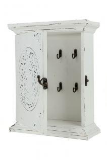 Schlüsselkasten Keybox Schlüsselbox Holz weiß 6 Haken Ornamente Shabby
