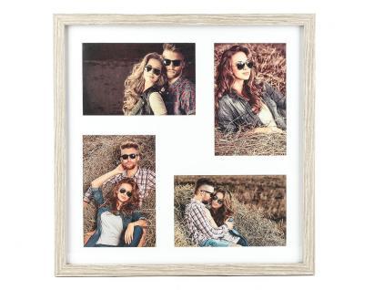 Fotorahmen für 4 Fotos mit Passpartout Holz Eiche gekälkt Bilderrahmen
