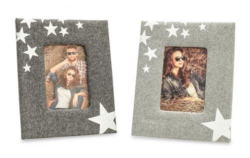 2er Set Fotorahmen Aufsteller grau Sterne Stars Holz Glas Bilderrahmen