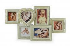 Fotogalerie Holz creme weiß Shabby Chic Vintage Bilderrahmen Collage