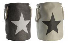 2er Set Wäschetonne mit Sternen in Beige Grau Stars Wäschekorb Wäsche