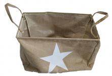 Jute-Sack Säckchen mit Stern Star Aufbewahrungskorb Korb Handarbeit