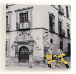 Wandbild Retro Oldtimer Auto - Stadt - Leinwandbild 50x50cm