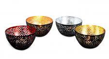 4tlg. Windlicht-Set Eisen Schwarz Bunt 10x6x10cm Teelichthalter Design