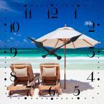 Leinwandbild als Wanduhr 30x30cm Strand Urlaub Karibik Wandbild Uhr
