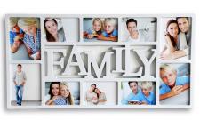 Bilderrahmen weiß Schriftzug FAMILY 10 Fotos Fotogalerie Collage