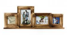 Bilderrahmen 4 Fotos braun Holz Foto Aufsteller Fotogalerie Collage