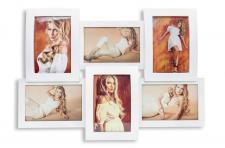 Gewölbter Bilderrahmen wave in weiß für 6 Fotos weiße Collage